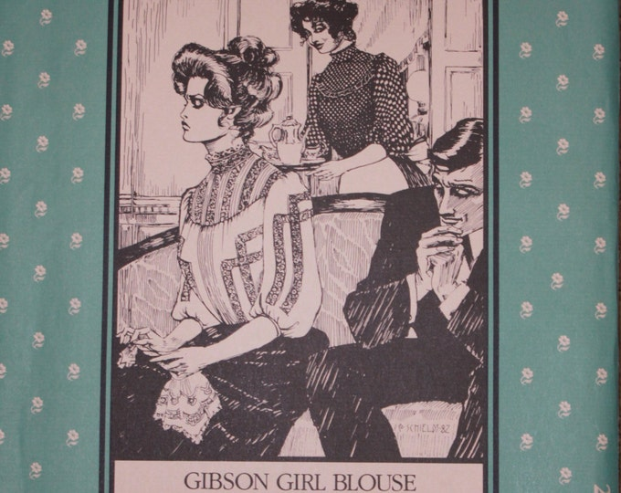 Gibson Girl Blouse Pattern/ Folkwear Pattern / High-collar / back-button / yoke style /  optional tucks and lace insertion / Folkwear 205