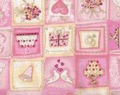 Fat Quarter, Wedding Fabric, I do by Blank Quilting, Wedding Cake Fabric, Valentine Fabric, Pink Hearts Fabric, 01286