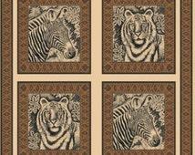 Zebra Fabric, Tiger Fabric, Jungle Fabric, Etched Jungle Pillow Panel Fabric, 1 panel, 01128