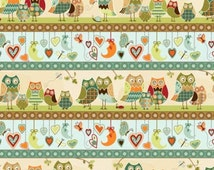 Owls, Owl Wonderful by Southsea Imports, Owl Fabric, Moon Fabric, Heart Fabric, 01435