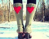 Leg Warmers Knit Tan Red Heart Valentines Day Teen Leggings Womens Ladies Adult Crochet