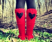 Leg Warmers Knitted Red Black Heart Valentines Day Teen Leggings Womens  Ladies Adult Crochet