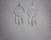 Handcrafted Turquoise dreamcatcher earrings