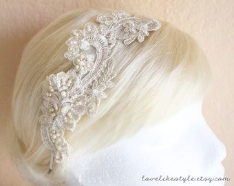 Light Gold Metallic Flower with Pearl Beading Lace Headband, Bridal Head Piece, Bridesmaid Headband