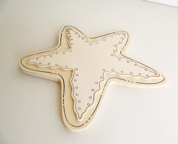 "1 Big Wooden stars 6.5"" tall  -Unfinished wooden star -Small Stars -Natrual Wood Stars"