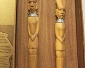 Vintage African Carved Mvule Wood Fork Spoon