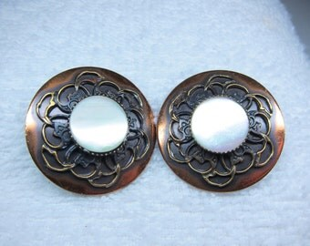 Vintage Copper Mother of Pearl Earrings