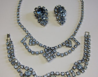 Vintage Blue Rhinestone Parure Necklace Earrings Bracelet