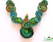 Beautiful green turquise soutache necklace CURACAO- OOAK Statement Necklace
