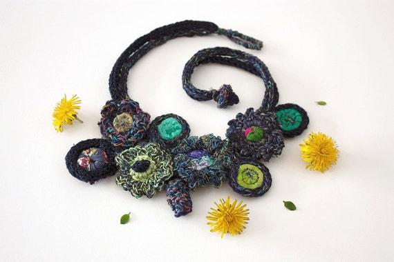 Bib necklace in navy blue knit and crochet jewelry, OOAK
