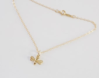 Solid 14k Yellow Gold Honey Bee Bracelet-