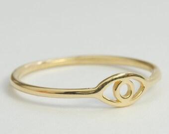 Solid 14K Eye Ring