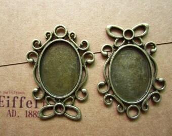 10pcs 25x18mm antique bronze cabochon pendant settings R27038