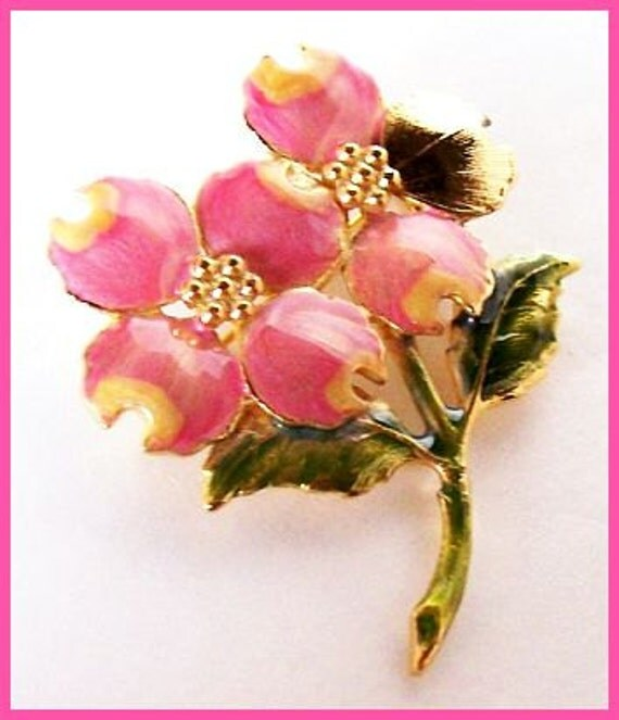 "Vintage Flower Brooch Pin Signed KC Pink Green Enamel Gold Metal 2 1/4"" VG"