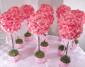 10 (Ten)  Pink Rose Topiaries , Silk Flower Table Centerpieces , Made To Order, Wedding Flowers //