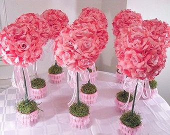 Wedding centerpiece banquet flowers reception flower 10 pink rose topiaries silk flower table centerpieces made to order wedding flowers junglespirit