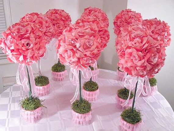 rose topiaries silk flower table centerpieces wedding flowers