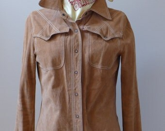 Vintage Unisex 1980's Made in France Chamois Deerskin - Chamois Shirt-Snaps Closing-Stitch Detail/Western Style/Boho Chic /
