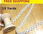 Cotton trim 15 Yards Cotton crochet trim, Beige cotton crochet trim, Ivory crochet cotton trim  6mm wide, No. L2