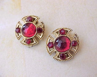 Very Pretty Vintage Clip on Style Earrings with Luminous Red Stones-Renaissance Styling