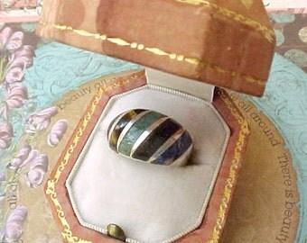 Very Pretty Vintage Mexican Sterling Silver Ring with Inlaid Stones in Earthy Colors