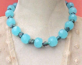 Lovely Blue Faceted Glass Bead Vintage Necklace with Turquoise