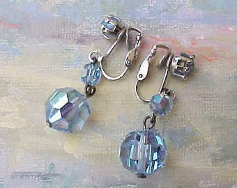 Lovely Vintage Sky Blue Faceted Crystal Dangling Earrings