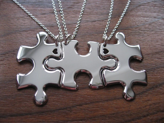 Three Puzzle Heart Pieces, Best Friends Necklace Pendants