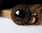 Brown Black brooch Bead embroidery brooch Beaded brooch Black Onyx Brooch Cabochon Brooch Black Jewelry MADE TO ORDER
