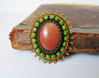 Gold Stone Brooch Embroidery Brooch Bead embroidered Brooch Beadwork Brooch Brown Green Orange MADE TO ORDER