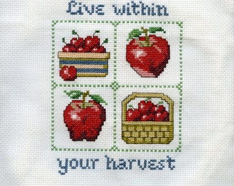 Handmade by Lolly-Cross Stitch Sampler-Live Within Your Harvest