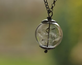 Sterling silver & hand blown glass pendant with dandelion seeds, unique, oxidized
