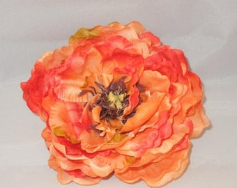 SALE sunset orange flower hair clip