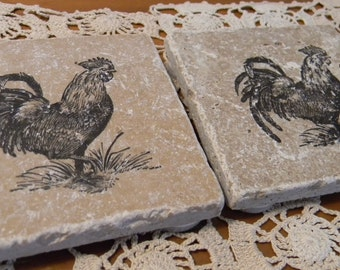 Set of 4 Rooster Farm Country  Tumbled Marble Coasters
