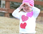 Appliqued onesie Valentines Day Shirt or Onesie Girl Longsleeved Girls Gift  photo prop
