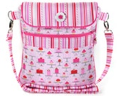 Crossbody iPad Bag Shoulder Strap Pink Cupcakes Hearts Valentines Day