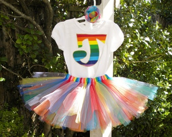 REAL RAINBOW Initial shirt or onesie, tutu and hair bow set