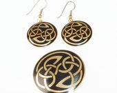Sea Gems Celtic Black Gold Earrings Brooch Set