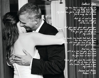 11x14 First Dance Song Photo Print  - Canvas Paper Print  - First Paper Anniversary - Wedding Photo Keepsake
