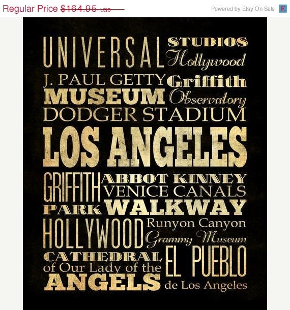 Los Angeles Wall Art items similar to los angeles, california, typography art canvas