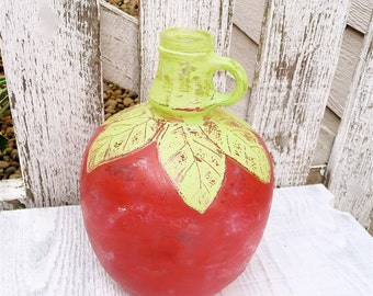 Red Apple, SHABBY CHIC Upcycled Juice Jar Turned Adorable Vase