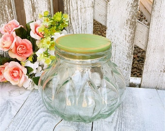 Glass Counter Jar - Vintage Bubble Glass Kitchen Canister Jar with Upcycled SHABBY CHIC Painted Wood Lid