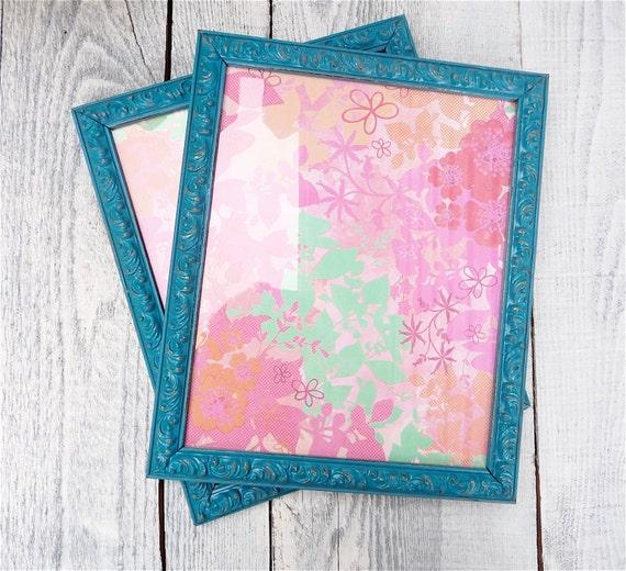 Teal shabby chic frames set of 2 frames 8 x 10 by - Telas shabby chic ...