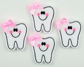 TOOTH - Embroidered Felt Embellishments / Appliques - White/Black (Qnty of 4) SCF0260