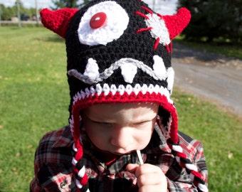 crochet monster hat red/black/gray/white