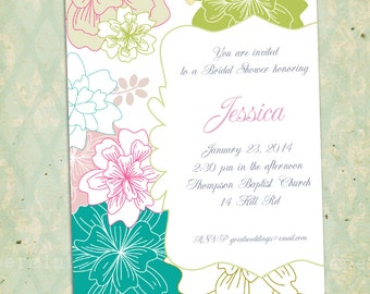 Floral Bridal | Baby Shower | Wedding Flowers Invitation Card - Customizable