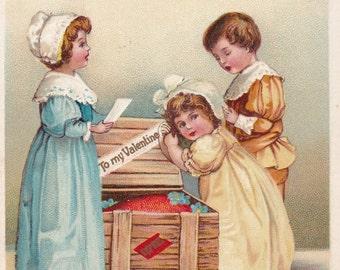 Pretty Clapsaddle signed Valentine Postcard International Art Germany Love Children