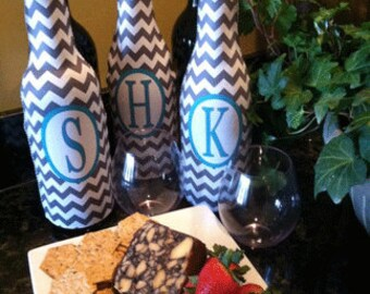 Personalized Chevron Wine Sleeve