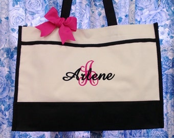 5 Personalized Tote Bags monogrammed with 1-large initial & 1-name