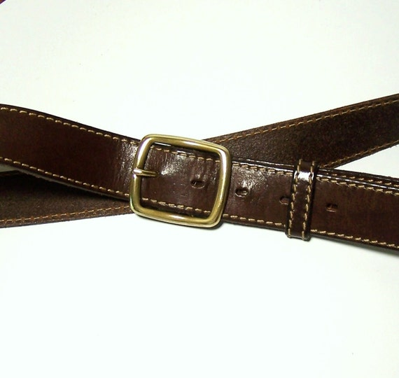 italian leather belt top quality brown with solid